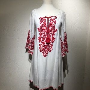 White with Red Embroidery Boho Dress